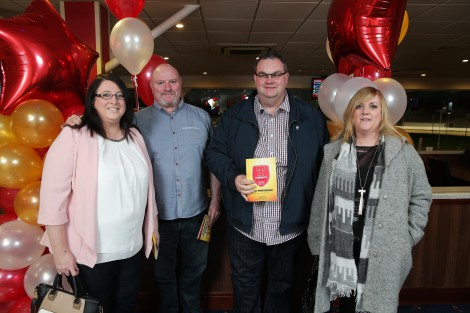 Gillian Green, Stuart Melville, Tommy Whoteside and Colleen Whiteside from Crusaders Football Club, north Belfast