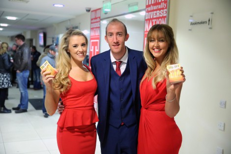Ricky Johnston with Tennent's promotional girls (left) Grace Kerr and Kellyleigh Anderson.