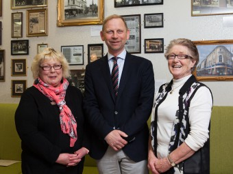 Cathy Dickie, current employee at Moores for 28 years, Neville Moore, Managing Director of Moores and Kathy McNabb previous employee of Moores for 47 years