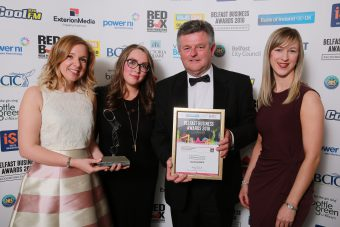 Customer Service Excellence, Independent Retailer winner was Learning Space, pictured is Liam Creagh, Red Box Media (sponsor) alongside Mary McAleer, Mary O'Hara and Kathyrn McGladdery.