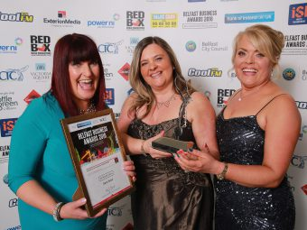 Winners of Customer Service Excellence, Multiple Retailer is Oasis Travel - pictured are: Angela Taylor and Heather Martin with sponsor Celine McLarnon from ISL Waste Management