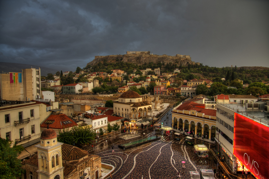 Athens, Greece, rain, winter