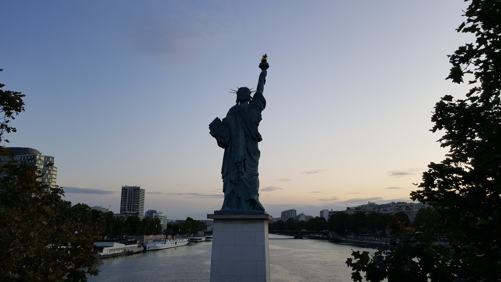 Liberty statue, Seine river, Liberte, sunset, Paris, France