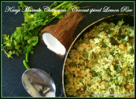 Kaayi Masaale Chitranna / Coconut Spiced Lemon Rice
