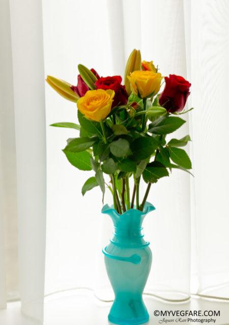 Flowers, Bouquet, Blue vase