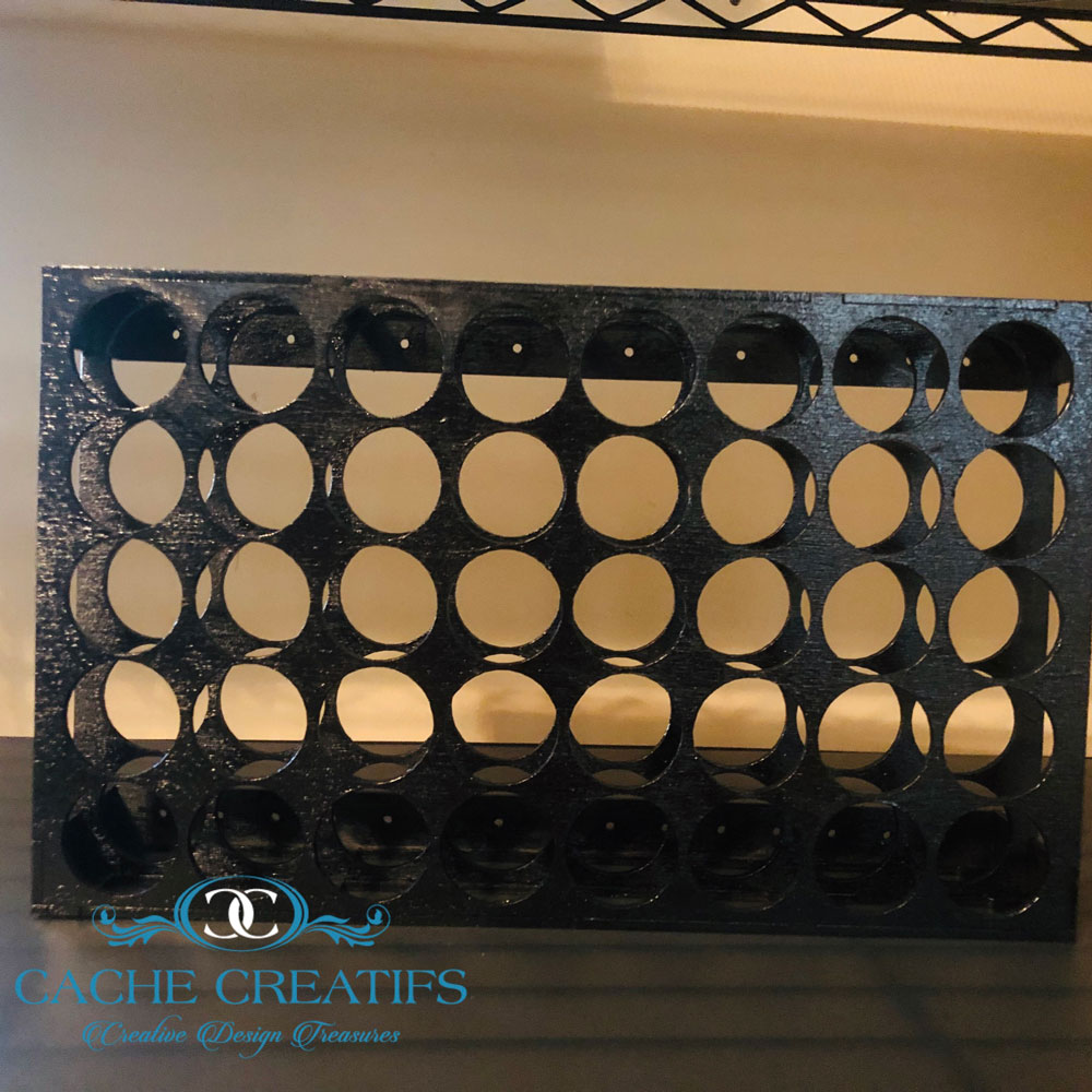 completed acrylic paint bottle organizer