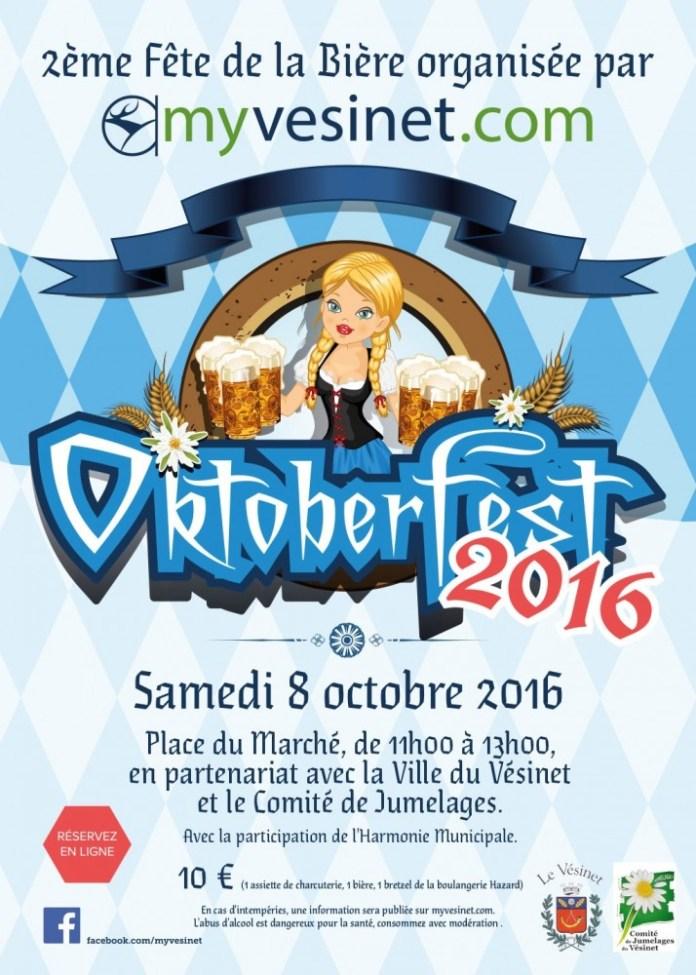 Samedi 8 octobre se tiendra la 2ème « Oktoberfest » (Fête de la bière) du Vésinet, Place du Marché, en contrebas de la pharmacie.