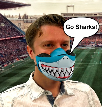 Respiratory Shield on Person in Stadium. Go Sharks!