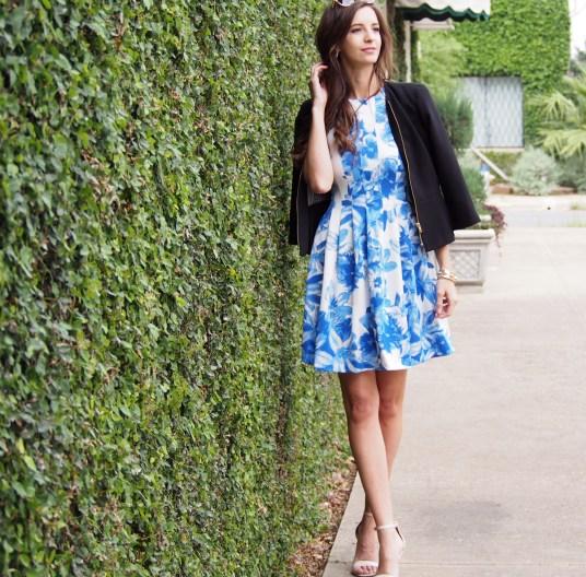 blue floral vince camuto dress myviewinheels