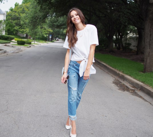 white zara top and jeans9