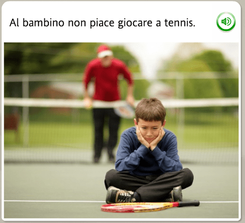 The funniest Rosetta Stone stock images: Italian, the kid doesn't like to play tennis