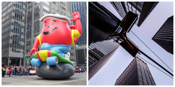 Do This, Not That // Macy's Thanksgiving Day Parade | Koolaid Man and buildings at the Macy's Thanksgiving Day Parade in New York City