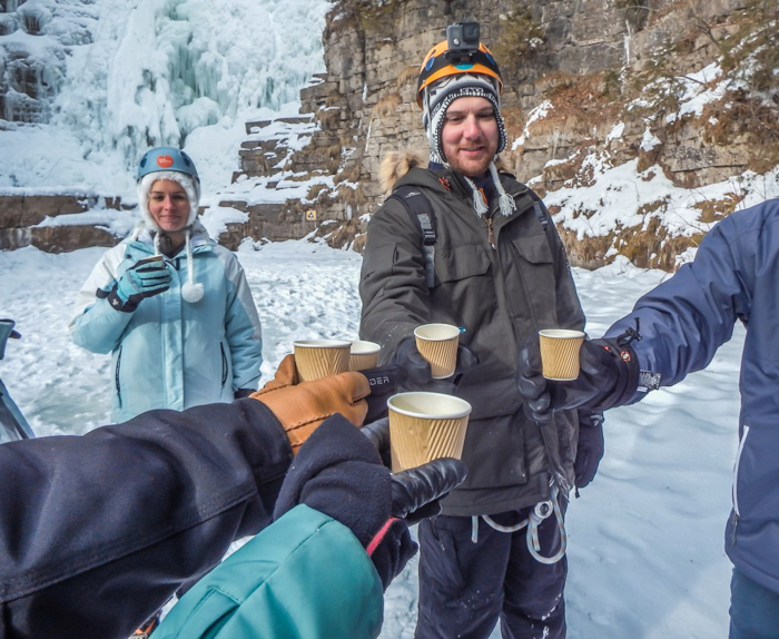 Ice Canyoning in Québec // Why You Should Be All up in This | Warming up with some hot chicken broth after ice canyoning in Québec