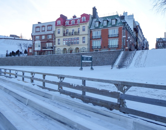 Château Frontenac & the Weekend of Spoils | Snowy buildings outside Québec City's Château Frontenac