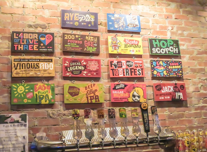 Drinking beer at the Deep Ellum brewery and taproom in Dallas, Texas