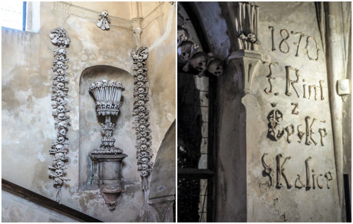 Bones at the Sedlec Ossuary in Kutná Hora, Czech Republic, just one hour from Prague