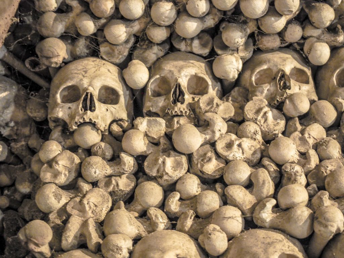 Bones and skulls at the Sedlec Ossuary in Kutná Hora, Czech Republic, just one hour from Prague