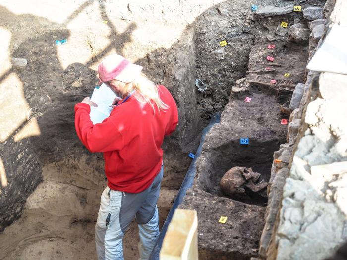 Excavations outside Sedlec Ossuary, the bone church of Kutná Hora, Czech Republic