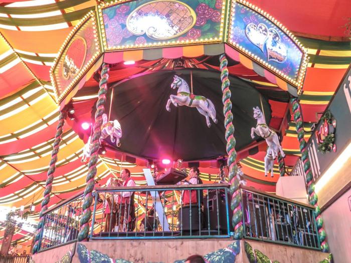 My Wanderlusty Oktoberfest Recap | What it's like at Oktoberfest in Munich, Germany | What it's like to travel to Oktoberfest with Thirsty Swagman | Oktoberfest beer tents | Oktoberfest food and beer | What to wear to Oktoberfest | Oktoberfirsts | Marstall Tent | Carousel horses