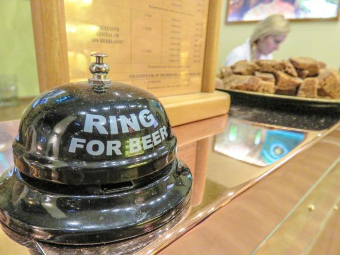The bell on the front desk at Pivni Lazne Spa Beerland--a Prague beer spa