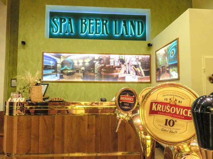The desk at Pivni Lazni Spa Beerland -- the Prague beer spa you need to visit