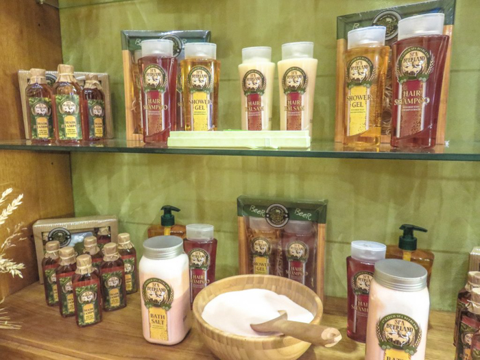 Bath products at the Prague beer spa