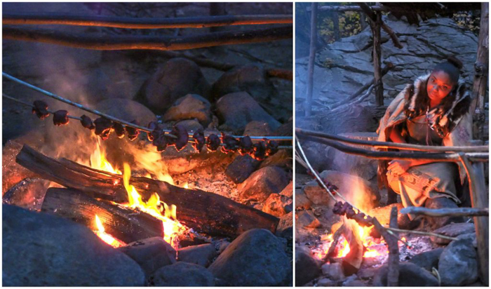 Native American cooking over a fire at Plymouth Plantation after Thanksgiving Dinner