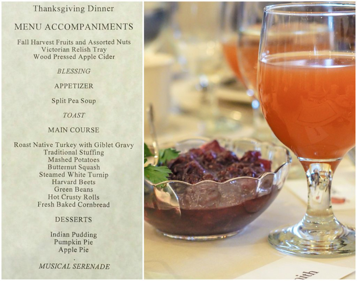 The menu and table setting at the Plymouth Plantation Thanksgiving dinner in Plymouth, Massachusetts--just an hour south of Boston