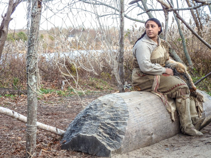 Native American at Plymouth Plantation after Thanksgiving Dinner