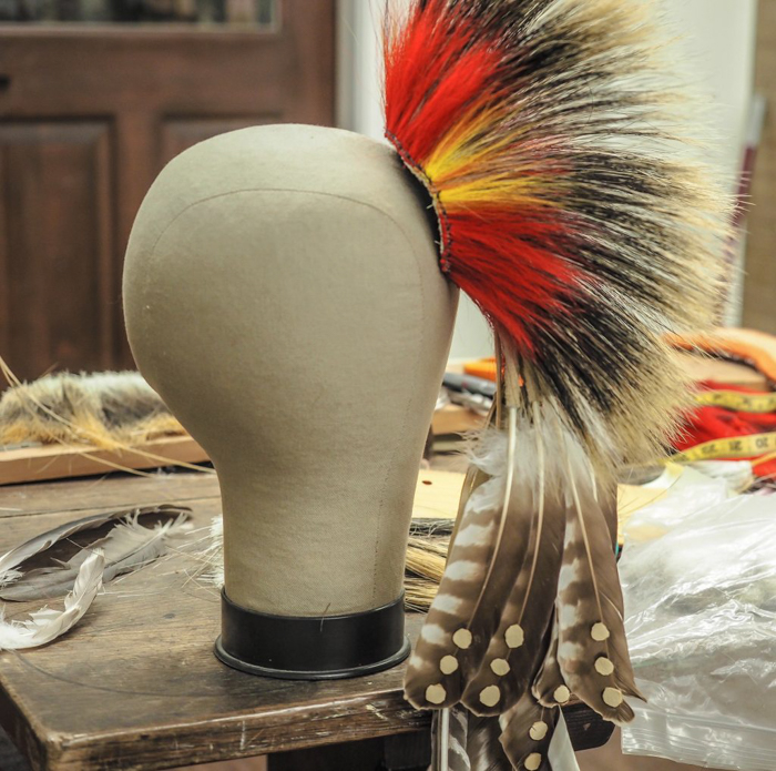 Native American headdress at the craft center at Plimoth Plantation for Thanksgiving in Plymouth, Massachusetts -- just outside Boston