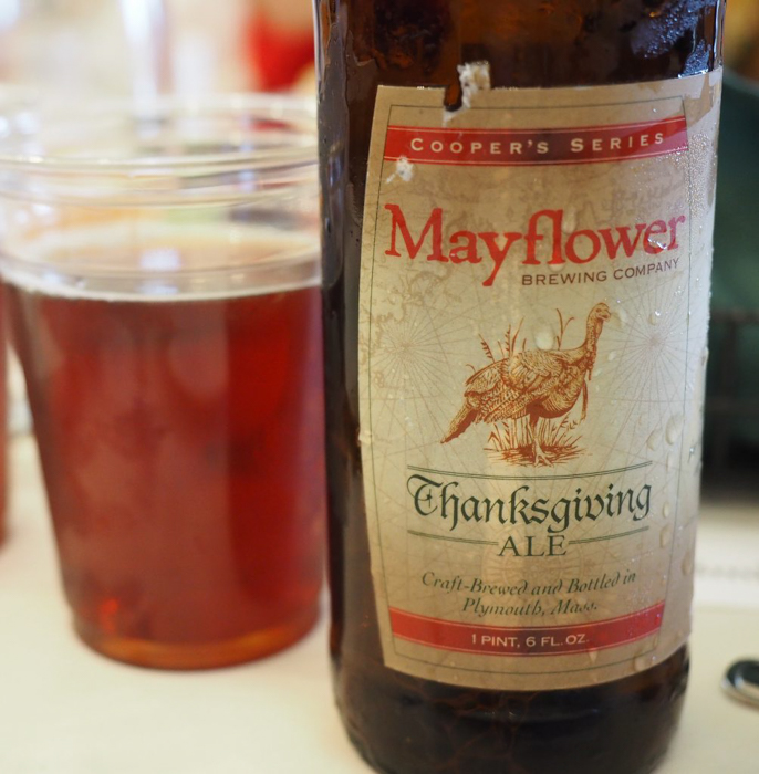 Mayflower beer at Plimoth Plantation Thanksgiving Dinner in Plymouth, Massachusetts -- just outside Boston