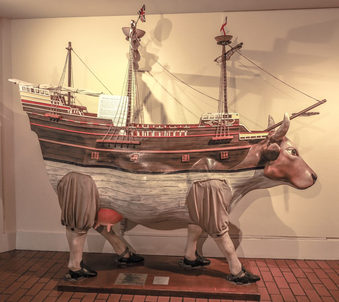 Statue of Mayflower cow at Plymouth Plantation Thanksgiving Dinner in Plymouth, Massachusetts