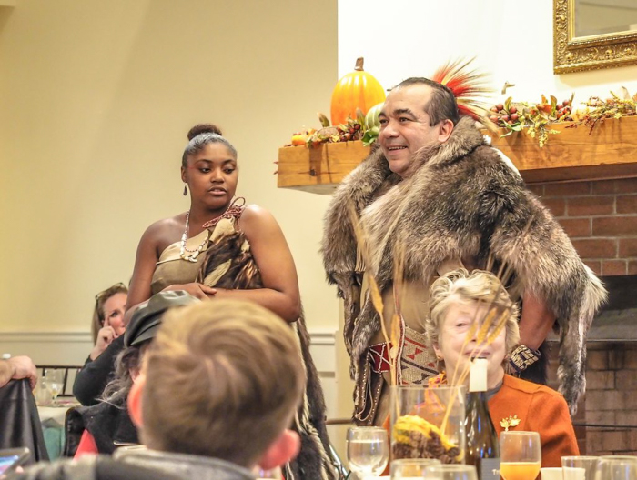 Wampanoag Native Americans at Plymouth Plantation Thanksgiving Dinner in Plymouth, Massachusetts