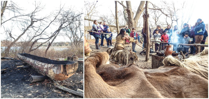Native American canoe and cooking lesson at Plymouth Plantation after Thanksgiving Dinner