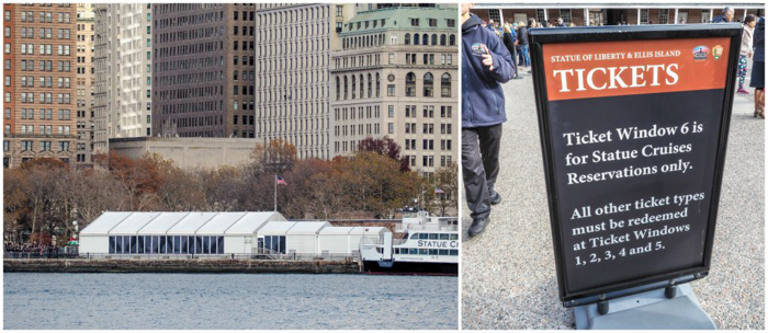 Tip for visiting the statue of liberty // Castle Clinton ticket booth and tent
