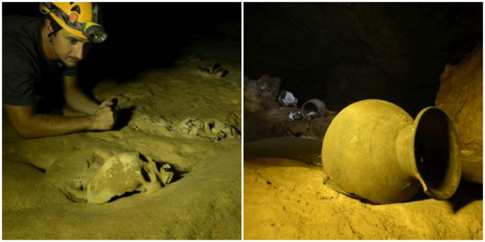Pots and skull inside the ATM Cave in Belize | Map | San Ignacio, Belize | Cayo District | Tapir Mountain Nature Reserve | Actun Tunichil Muknal | Maya | Mayan archaeological site | skeletal remains | Cave of the Sone Sepulcher | Pacz Tours
