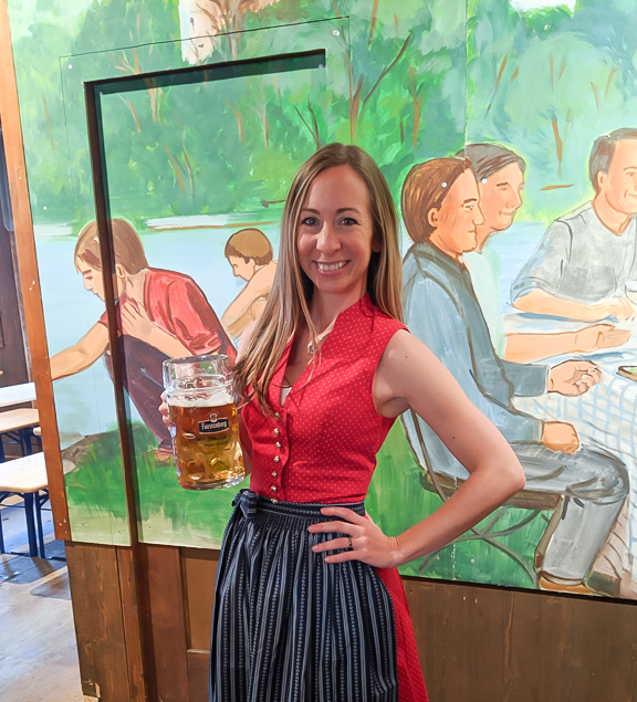 wearing a dirndl without a blouse | How to dress for Oktoberfest, a Complete and Honest Oktoberfest Packing Guide for dirndls | What to wear to Oktoberfest in Munich, Germany #oktoberfest #dirndl #munich #germany #festival #beerfestival