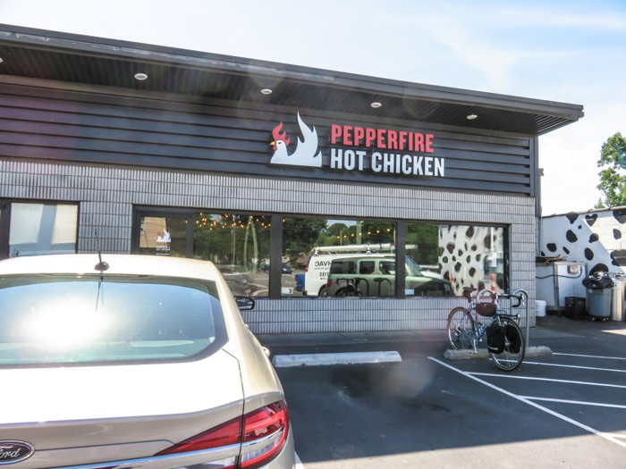 An exploration of Nashville Hot Chicken | Pepperfire Hot Chicken | Nashville, Tennessee | chicken and waffles, chicken tenders, spicy fried chicken | Southern cuisine | Soul food | Outside of the building