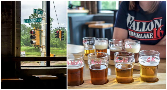 Memphis craft breweries | Ghost River Brewing Co. | Craft beer in Downtown Memphis, Tennessee | Ghost River taproom | beer flights | Crump and Main