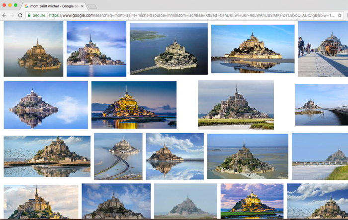 Mont Saint Michel Google search - to prove it's always the same result