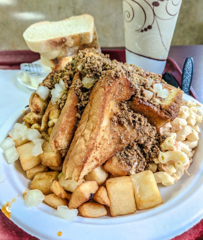 Nick Tahou Garbage Plate | Rochester, New York | Hamburger, Cheeseburger, Grilled Cheese, sausage | strange regional food obsessions | college food