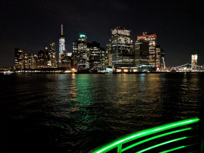 Skyline of NYC at night from a dinner cruise