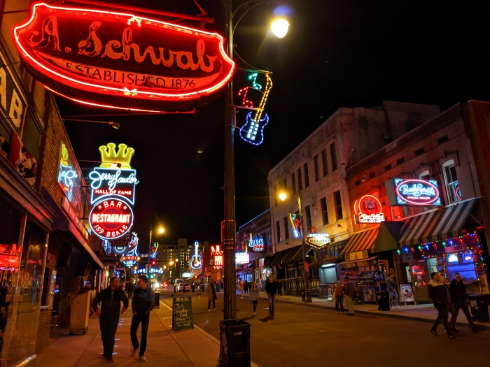 Beale Street at night   200 things to do in Memphis, Tennessee for first-time visitors - a local's guide #memphis #tennessee #bealestreet