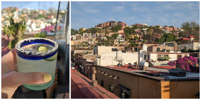 2 days in San Miguel de Allende travel tips | aerial views of the city | Rooftop patio at El Pegaso, margaritas #sanmigueldeallende #mexico #traveltips #timebudgettravel #sanmiguel