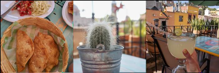 2 days in San Miguel de Allende travel tips | lemonade, cactus, and empanadas at a rooftop restaurant Baja Fish Taquito #sanmigueldeallende #mexico #traveltips #timebudgettravel #sanmiguel #rooftop