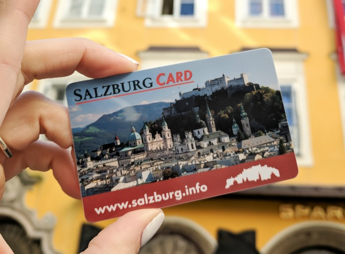 24-hour Salzburg Card in front of Mozart's Birthplace
