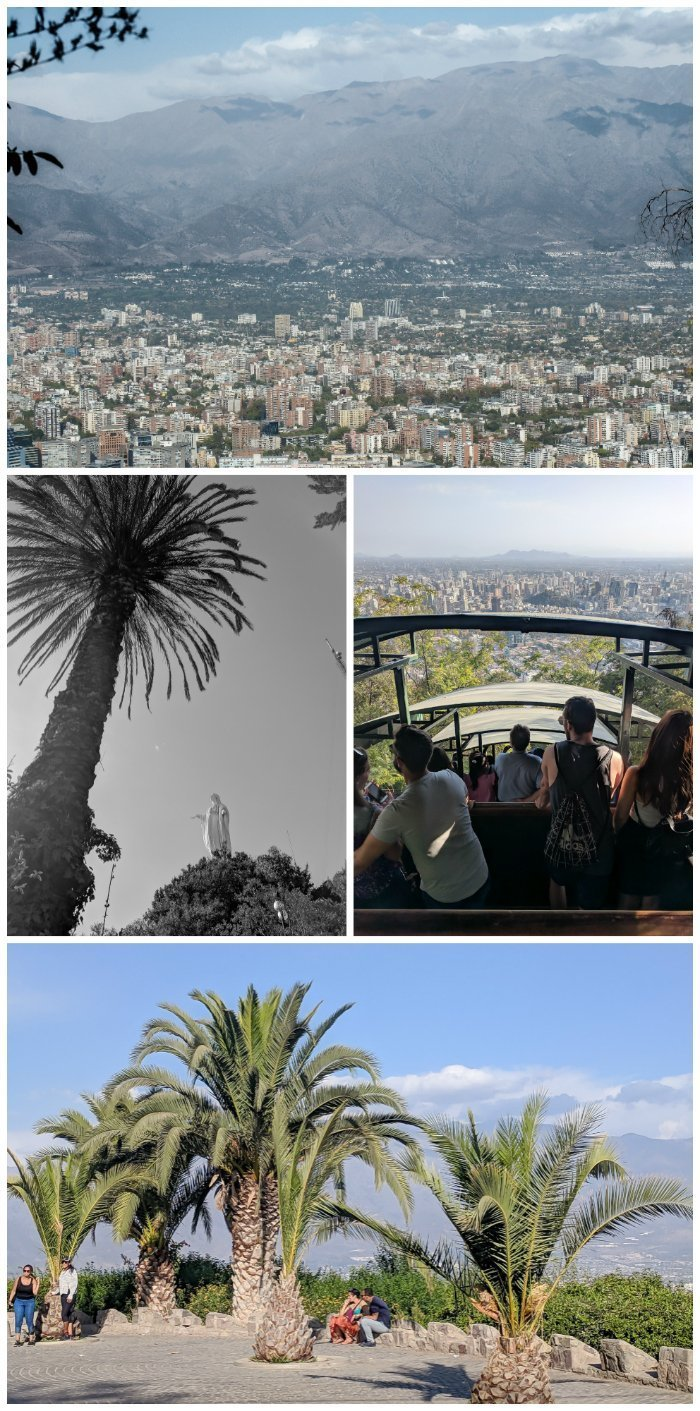 How to Spend One Week in Chile and Cover All the Bases | Santiago and taking in the views from the top of Cerro San Critobal (San Cristobal Hill), riding the funicular #santiago #chile #funicular #aerialviews #cerrosancristobal #whattodoinchile #weekinchile