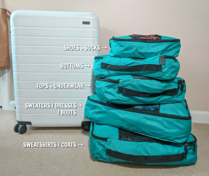 I will never travel without packing cubes again. Best way to organize your suitcase and your trips. I use TravelWise. #traveltips #packingtips #travelhacks
