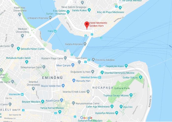 Where to Stay in Istanbul, Turkey: Hotel Momento Golden Horn in Beyoglu / Karakoy. Map of location. #istanbul #turkey #goldenhorn #wheretostay #hotelreview #hotelmomento #traveltips #hagiasophia #ayasofya