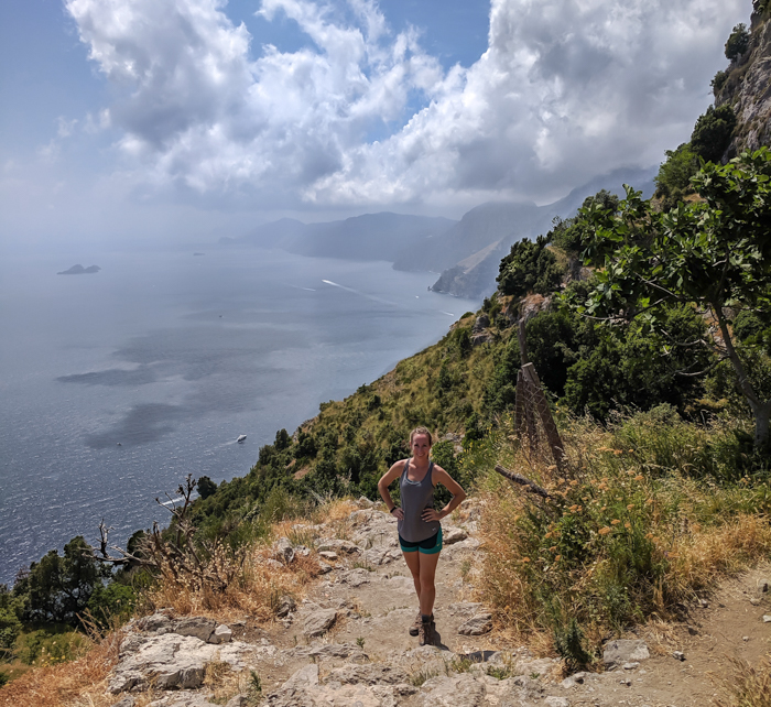 Me in front of the Amalfi Coast | Hiking the Path of the Gods from Sorrento, Italy on the Amalfi Coast | #pathofthegods #sorrento #amalficoast #hiking #italy